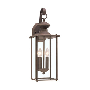 Jamestowne Antique Bronze 7-Inch Energy Star Two-Light Outdoor Wall Lantern