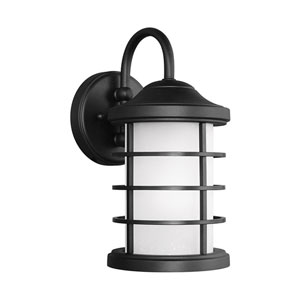 Sauganash Black 6-Inch One-Light Outdoor Wall Sconce