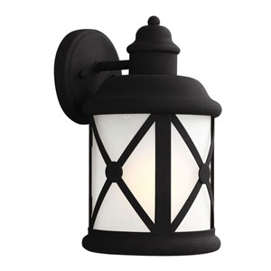 Lakeview Black Energy Star LED One-Light Medium Outdoor Wall Lantern with Etched Seeded Glass