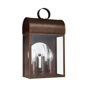 Conroe Weathered Copper Three-Light Outdoor Wall Sconce