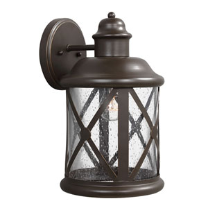 Lakeview Antique Bronze Fluorescent One-Light Large Outdoor Wall Lantern with Etched Seeded Glass