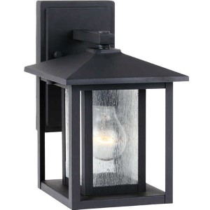 Hunnington Black 7-Inch Wide One-Light Outdoor Wall Lantern with Clear Seeded Glass