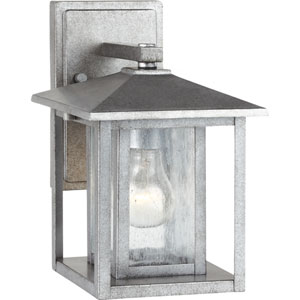 Hunnington Weathered Pewter 7-Inch Wide One-Light Outdoor Wall Lantern with Clear Seeded Glass