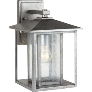 Hunnington Weathered Pewter 9-Inch Wide One-Light Outdoor Wall Lantern with Clear Seeded Glass