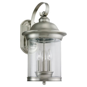 Hermitage Large Antique Brushed Nickel Outdoor Wall Mounted Lantern