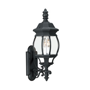 Wynfield Black 8-Inch Energy Star Two-Light Outdoor Wall Lantern