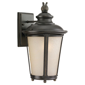 Cape May Burled Iron Medium Outdoor LED Wall Lantern with Etched Amber Tint Glass