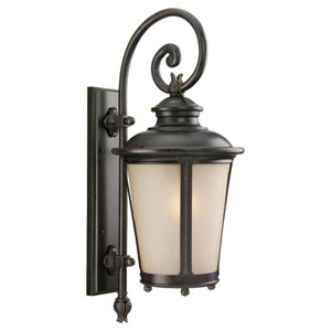 Cape May Burled Iron Large LED Outdoor Wall Lantern with Etched Amber Tint Hammered Glass