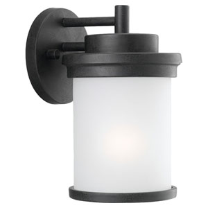 Winnetka One-Light Forged Iron Outdoor Wall Lantern with Satin Etched Glass