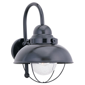 Sebring Black LED Outdoor Wall Lantern with Clear Seeded Glass