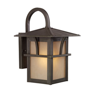 Medford Lakes One-Light Statuary Bronze Outdoor Wall Lantern with Etched Hammered with Light Amber Glass