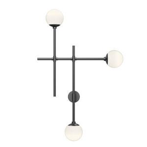 Sabon Satin Black Three-Light LED Triple Sconce
