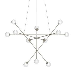 Proton Satin Nickel 12-Light Alpha LED Pendant with White Crushed Glass