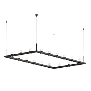 Intervals Satin Black 18-Light LED Pendant with Clear Etched Cone