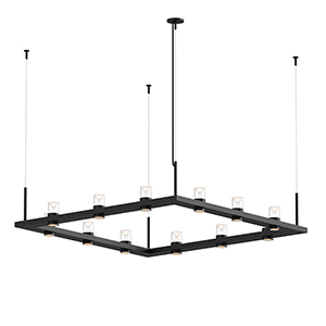 Intervals Satin Black 12-Light LED Pendant with Clear Etched Cone
