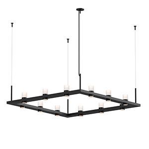 Intervals Satin Black 12-Light LED Pendant with Clear Etched Cylinder