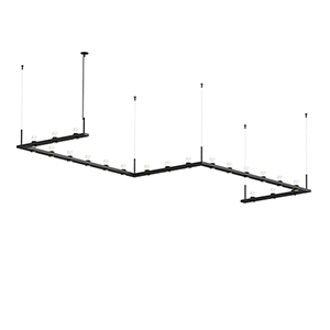 Intervals Satin Black 21-Light LED Pendant with Clear Etched Cone