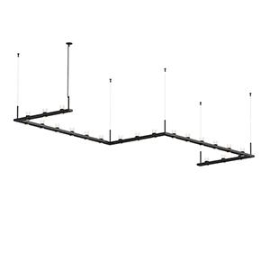 Intervals Satin Black 21-Light LED Pendant with Clear Etched Cylinder