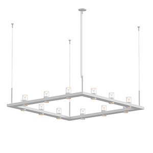 Intervals Satin White 12-Light LED Pendant with Clear Etched Cone