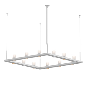 Intervals Satin White 12-Light LED Pendant with Clear Etched Cylinder
