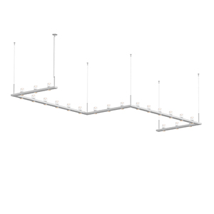 Intervals Satin White 21-Light LED Pendant with Clear Etched Cone