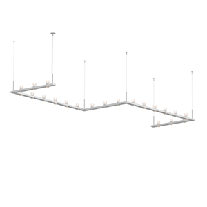 Intervals Satin White 21-Light LED Pendant with Clear Etched Cylinder