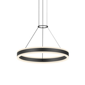 Double Corona Satin Black LED 24-Inch Pendant