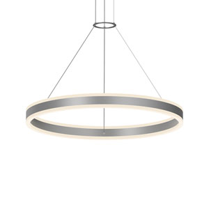 Double Corona Bright Satin Aluminum LED 31.5-Inch Pendant