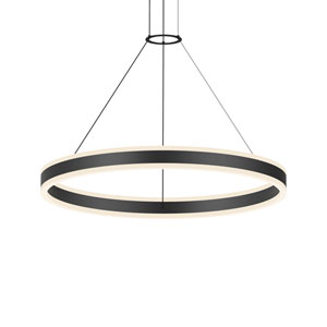 Double Corona Satin Black LED 31.5-Inch Pendant