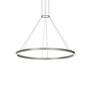 Double Corona Bright Satin Aluminum LED 47-Inch Pendant