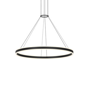 Double Corona Satin Black LED 47-Inch Pendant