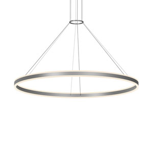 Double Corona Bright Satin Aluminum LED 59-Inch Pendant