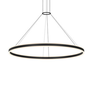 Double Corona Satin Black LED 59-Inch Pendant