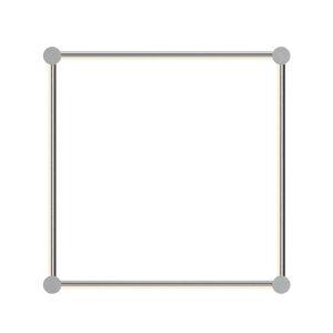 Purolinear 360 Satin Chrome 25-Inch Four-Light Square LED Wall Bar