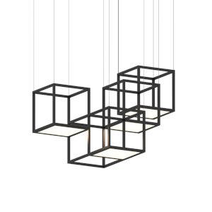Cubix Satin Black Four-Light LED Pendant