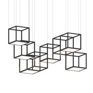 Cubix Satin Black Six-Light LED Pendant