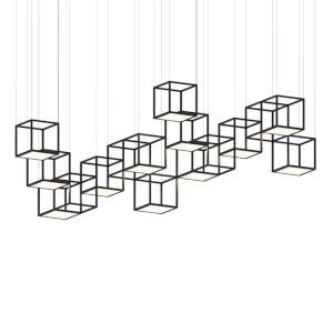 Cubix Satin Black 12-Light LED Pendant