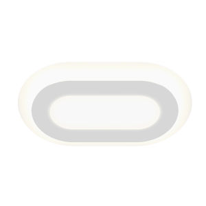 Offset Textured White 24-Inch Racetrack LED Flush Mount