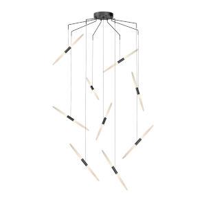Ballet Satin Black 21-Inch 9-Light Spreader LED Pendant