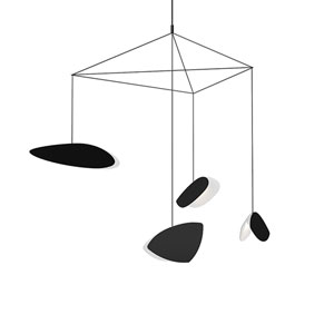 Papillons Satin Black Four-Light LED Pendant