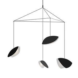 Papillons Satin Black Four-Light Large LED Pendant