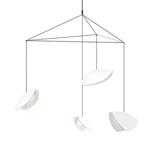 Papillons Satin White and Black Four-Light Large LED Pendant