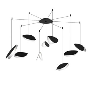 Papillons Satin Black Nine-Light Swag LED Pendant