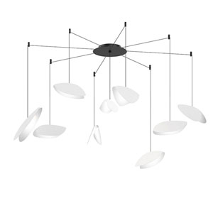 Papillons Satin White and Black Nine-Light Swag LED Pendant