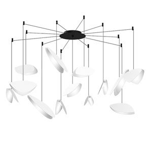 Papillons Satin White and Black 13-Light Swag LED Pendant