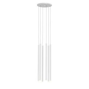 Light Chimes Satin White 24-Inch 6-Light LED Pendant