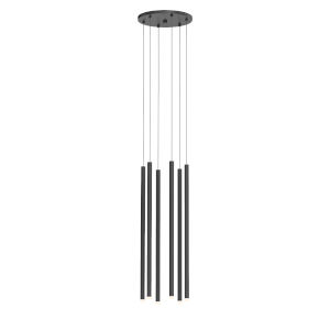 Light Chimes Satin Black 24-Inch 6-Light LED Pendant