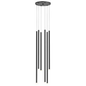 Light Chimes Satin Black 10-Inch 6-Light Assorted LED Pendant