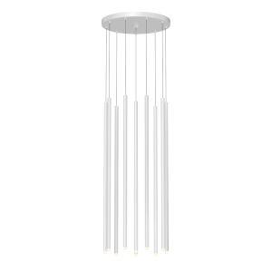 Light Chimes Satin White 32-Inch 10-Light LED Pendant
