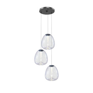 Mela Satin Black 20-Inch 3-Light LED Pendant